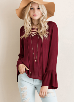 Lace Up Bell Sleeve Blouse – Burgundy