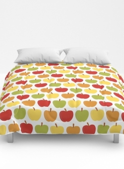 Apples Over White Comforter